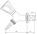 Кран для воды под угл 45 для установки в стену со штуцером и наклонным вентилем