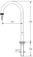 Выпускной патрубок для воды ''лебединая шея'' для установки в стол